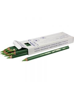 Super Ferby 1 farveblyanter, L: 18 cm, mine 6.25 mm, lys grøn, 12 stk./ 1 pk.