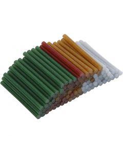 Limstænger, L: 10 cm, diam. 7 mm, glitter, guld, grøn, rød, sølv, 100 stk./ 1 pk.