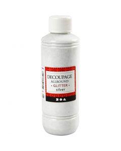 Decoupagelak, glitter, sølv, 250 ml/ 1 fl.