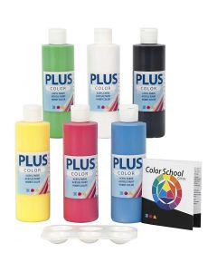 Plus Color hobbymaling, primærfarver, 6x250 ml/ 1 pk.