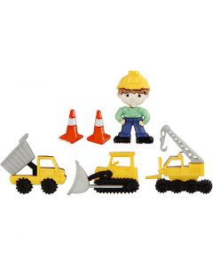 Figurknapper, byggemand, H: 14-29 mm, B: 10-30 mm, 6 stk./ 1 pk.