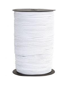 Elastiksnor, tykkelse 2 mm, hvid, 250 m/ 1 rl.