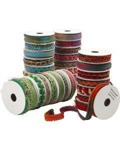 Dekorationsbånd, B: 8-12 mm, blå, grøn, pink, rød, 64x1,8 m/ 1 pk.