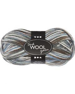Strømpegarn, L: 200 m, blå/grå harmoni, 50 g/ 1 ngl.