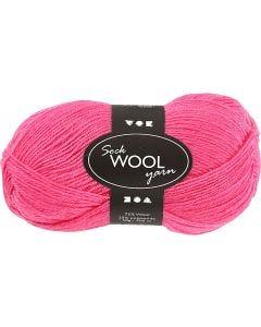 Strømpegarn, L: 200 m, pink, 50 g/ 1 ngl.