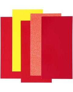 Color Dekor, rød/orange/gul, 5 ass. ark/ 1 pk.