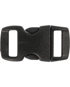 Kliklås, L: 29 mm, B: 15 mm, hulstr. 3x11 mm, sort, 4 stk./ 1 pk.