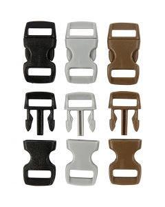 Kliklås, L: 29 mm, B: 15 mm, hulstr. 3x11 mm, sort, brun, grå, 100 stk./ 1 pk.