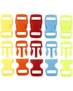 Kliklås, L: 29 mm, B: 15 mm, hulstr. 3x11 mm, ass. farver, 100 stk./ 1 pk.