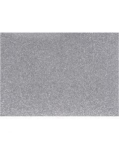 Strygestof, 148x210 mm, glitter, sølv, 1 ark
