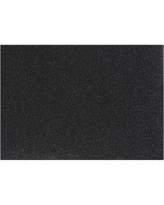 Strygestof, 148x210 mm, glitter, sort, 1 ark