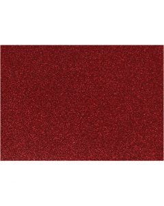 Strygestof, 148x210 mm, glitter, rød, 1 ark