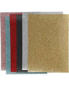 Strygestof, 148x210 mm, glitter, ass. farver, 6 ark/ 1 pk.