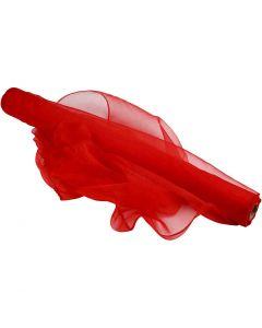 Organza stof, B: 50 cm, rød, 10 m/ 1 rl.