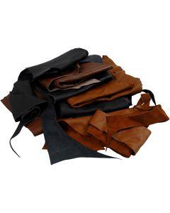 Ægte læder, ass. farver, 2 kg/ 1 pk.