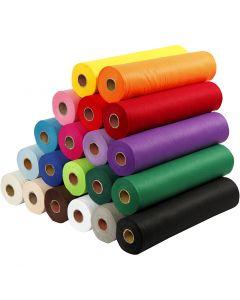 Hobbyfilt, B: 45 cm, tykkelse 1,5 mm, 180-200 g, ass. farver, 20x5 m/ 1 pk.