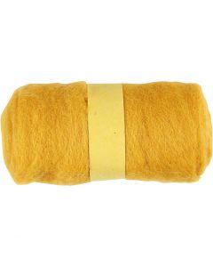Kartet uld, gul, 100 g/ 1 bdt.