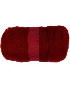 Kartet uld, varm rød, 100 g/ 1 bdt.