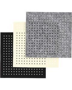 Filt med huller, tykkelse 3 mm, sort, grå, råhvid, 3x4 ark/ 1 pk.