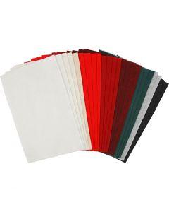 Hobbyfilt, 20x30 cm, tykkelse 1,5 mm, 180-200 g, ass. farver, 24 ass. ark/ 1 pk.