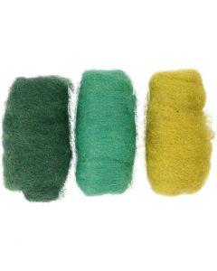 Kartet uld, grøn/råhvid, 3x10 g/ 1 pk.