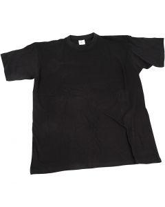 T-shirt, B: 40 cm, str. 7-8 år, rund hals, sort, 1 stk.
