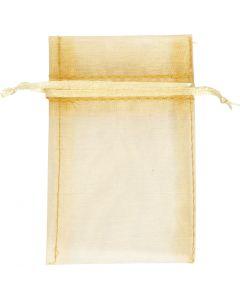 Organzapose, str. 7x10 cm, guld, 10 stk./ 1 pk.