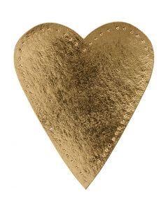 Hjerte, H: 12 cm, B: 10 cm, 350 g, guld, 4 stk./ 1 pk.