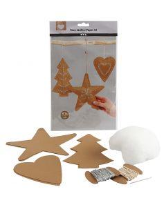 Juleophæng af læderpapir, tykkelse 0,55 mm, natur, 1 sæt