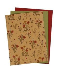 Læderpapir, 21x27,5+21x28,5+21x29,5 cm, tykkelse 0,55 mm, ensfarvet,print, natur, grøn, rød, 3 ark/ 1 pk.