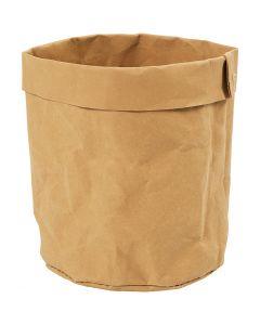 Opbevaringspose, H: 12 cm, diam. 11 cm, 350 g, lys brun, 1 stk.