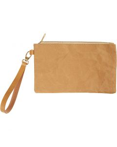Clutch, H: 18 cm, L: 21 cm, 350 g, lys brun, 1 stk.