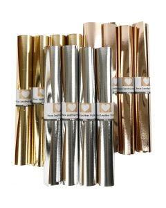 Læderpapir, B: 49 cm, tykkelse 0,55 mm, ensfarvet,folie, guld, sølv, rosaguld, 12x1 m/ 1 pk.
