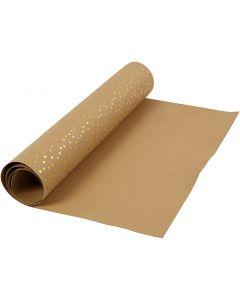Læderpapir, B: 50 cm, ensfarvet,folie, 350 g, lys brun, guld, 1 m/ 1 rl.