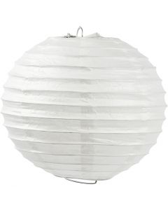 Rispapirlampe, Rund, diam. 35 cm, hvid, 1 stk.