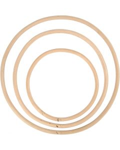 Bambusring, diam. 15,3+20,3+25,5 cm, 3 stk./ 1 sæt