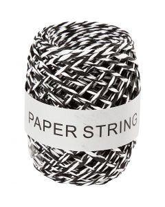 Papirsnor, tykkelse 1 mm, sort/hvid, 50 m/ 1 rl.