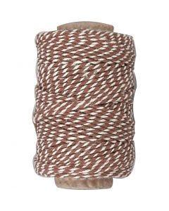 Bomuldssnor, tykkelse 1,1 mm, brun/hvid, 50 m/ 1 rl.