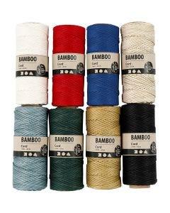 Bambussnor, tykkelse 1 mm, ass. farver, 8x65 m/ 1 sæt