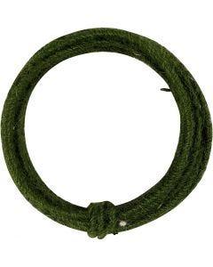 Jute wire, tykkelse 2-4 mm, grøn, 3 m/ 1 pk.