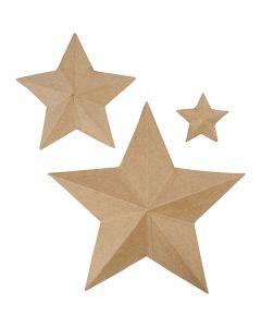 Stjerner, H: 11+19,5+31,5 cm, 3 stk./ 1 pk.