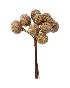 Kunstige bær, diam. 15 mm, guld, 12 stk./ 1 pk.