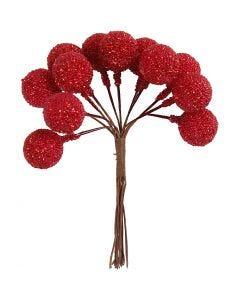 Kunstige bær, diam. 15 mm, julerød, 12 stk./ 1 pk.