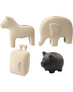 Sparebøsser, H: 10-16 cm, sort, hvid, 4x8 stk./ 1 ks.