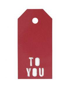 Manilamærker, TO YOU, str. 5x10 cm, 300 g, rød, 15 stk./ 1 pk.