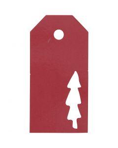 Manilamærker, Juletræ, str. 5x10 cm, 300 g, rød, 15 stk./ 1 pk.