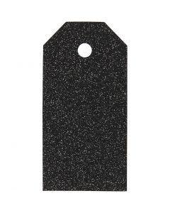 Manilamærker, str. 5x10 cm, glitter, 300 g, sort, 15 stk./ 1 pk.