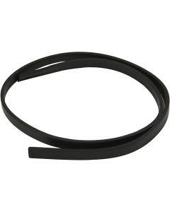 Imiteret læderbånd, B: 10 mm, tykkelse 3 mm, sort, 1 m/ 1 pk.