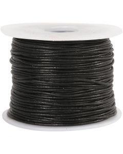 Lædersnor, tykkelse 1 mm, sort, 50 m/ 1 rl.