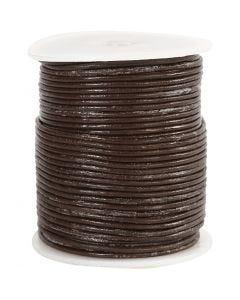Lædersnor, tykkelse 2 mm, brun, 50 m/ 1 rl.